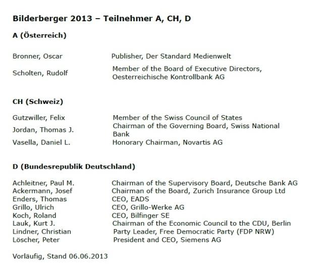 Bilderberger 2013 Teilnehmer A CH D