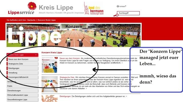 Konzern Lippe Webseite mit Mark