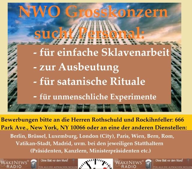 NWO Grosskonzern sucht Personal - Wake News Radio TV