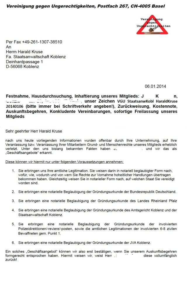VUG konkludentes Auskunftsersuchen Staatsanwaltschaft Koblenz - Auszug