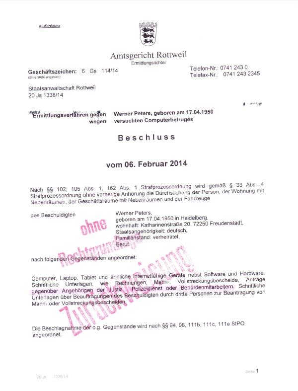Werner Peters Beschluss Fa. AG Rottweil p1