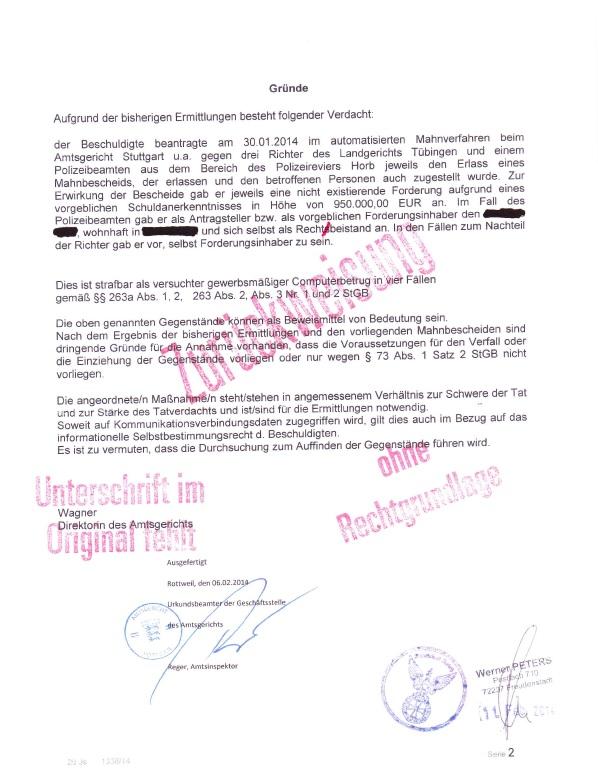 Werner Peters Beschluss Fa. AG Rottweil p2