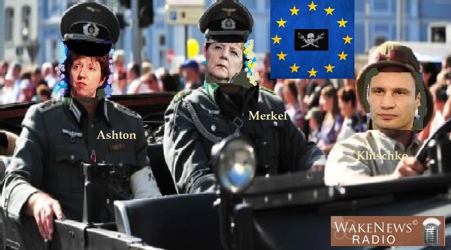 Ashton Merkel Klitschko EU-Piraterie mit Logo