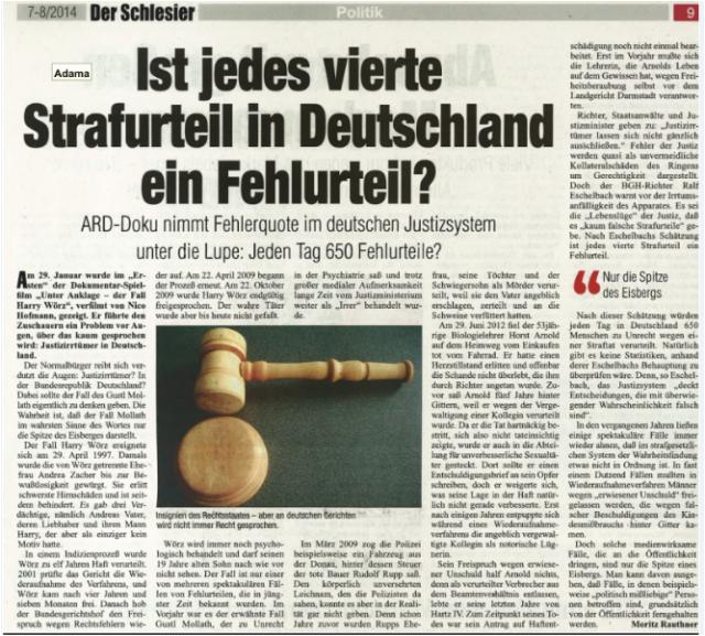 jedes 4. Strafurteil ein Fehlurteil in Deutschland