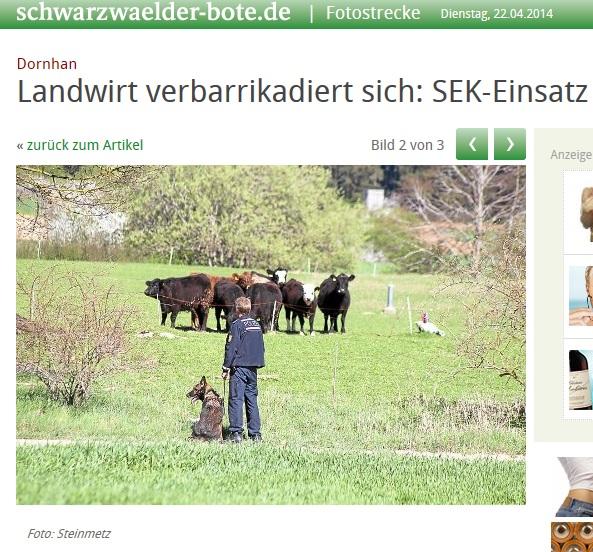SEK überfällt Landwirt in Dornhan