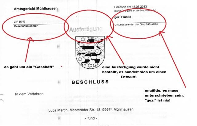 Beschluss Ausfertigung Luca Amtsgericht Mühlhausen 20130315 p1 mit Markierungen