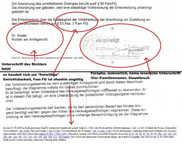 Beschluss Ausfertigung Luca Amtsgericht Mühlhausen 20130315 p2+3 mit Markierungen