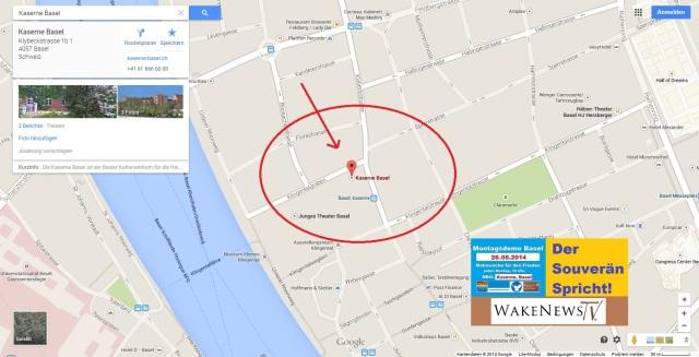 Kaserne Basel Screenshot Lageplan mit Logo + Markierung