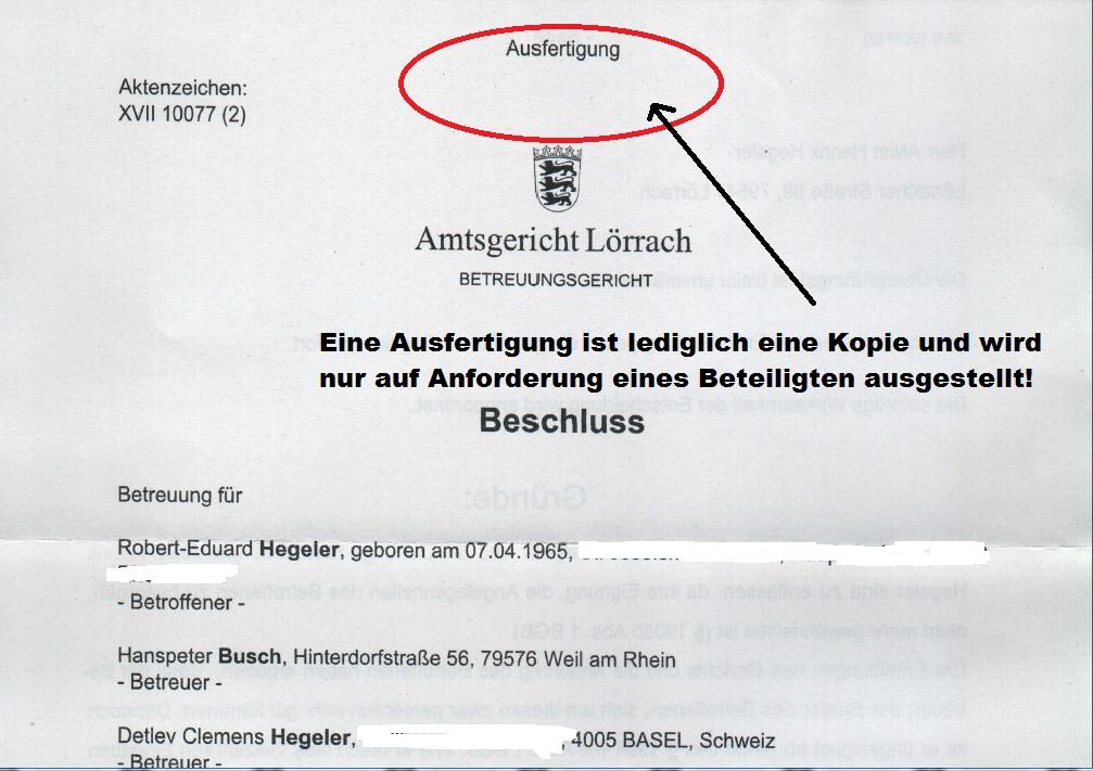 Beschluss des sog. Amtsgericht Lörrach - Ausfertigung - Seite 1