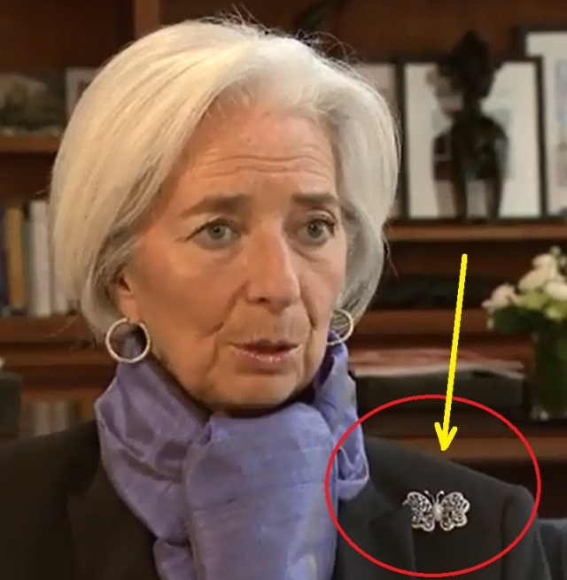 Christine Lagarde Wearing Butterfly marked