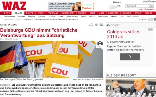 Christliche Verantwortung CDU Duisburg Screenshot WAZ 20140922