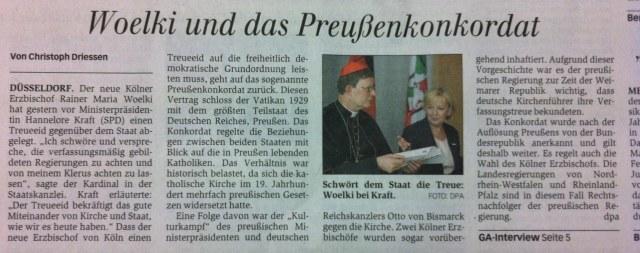 Kirche schwört NRW die Treue