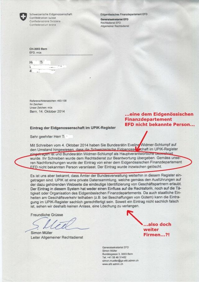 Schweizerische Eidgenossenschaft Simon Müller Rechtsdienst 20141014 sm markiert korr