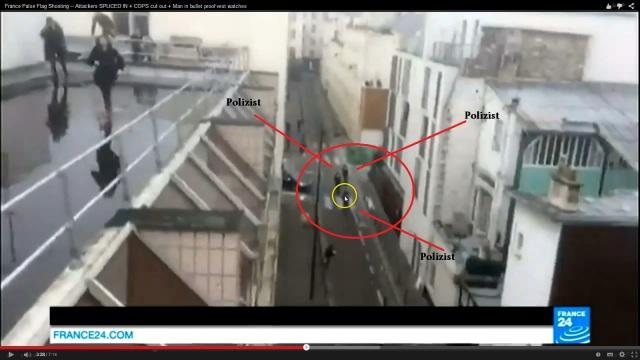 Charlie Hebdo Schusssichere Weste Dach laufende Polizisten 3 close up