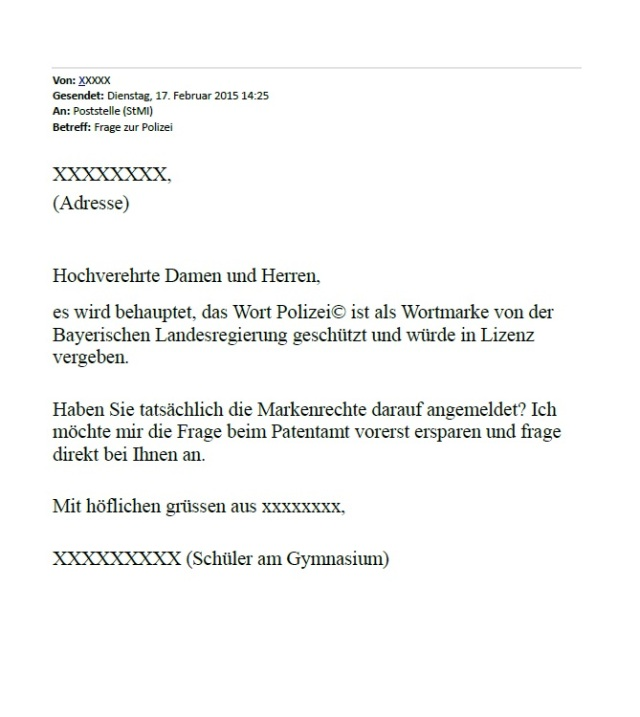 Anfrage Schüler an Bayern-Innenminister POLIZEI-Wortmarke 20150217