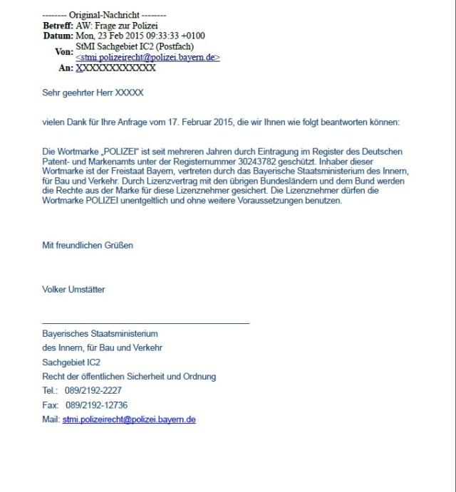 Bayrisches Staatsministerium des Inneren POLIZEI Wortmarke Bestätigung 20150223