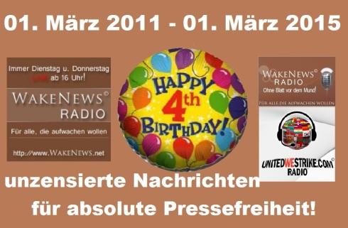 Wake News Radio 4. Geburtstag 20150301