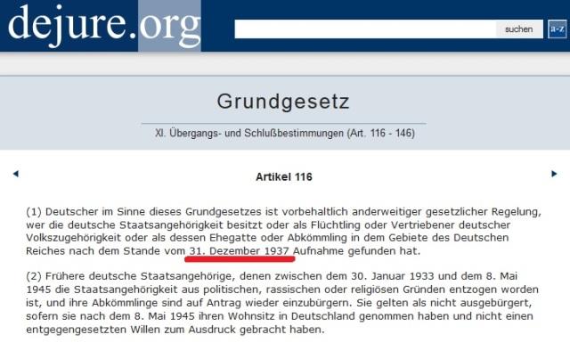 Art. 116 GG 31.12.1937