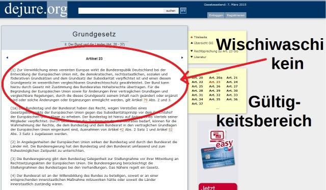 Art 23 neu - kein Gültigkeitsbereich EU-Wischiwaschi