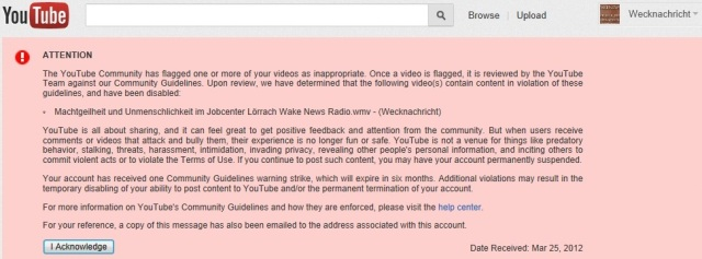 Youtube Flag Machtgeilheit u. Unmenschlichkeit 25.03.12 cut