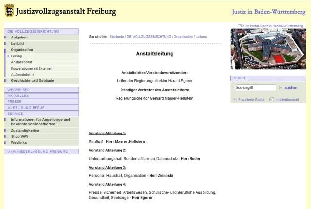 JVA Freiburg - Leitung