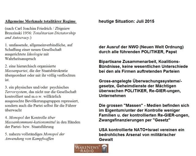 Allgemeine Merkmale totalitärer Systeme im Vergleich zu heute 20150707
