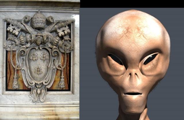 Papstwappen und Alienkopf