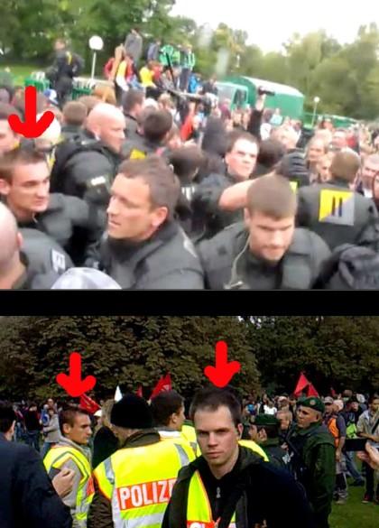 Polizeibeamte-der-BFE-Einheit-im-Einsatz-in-zivil-und-in-Uniform