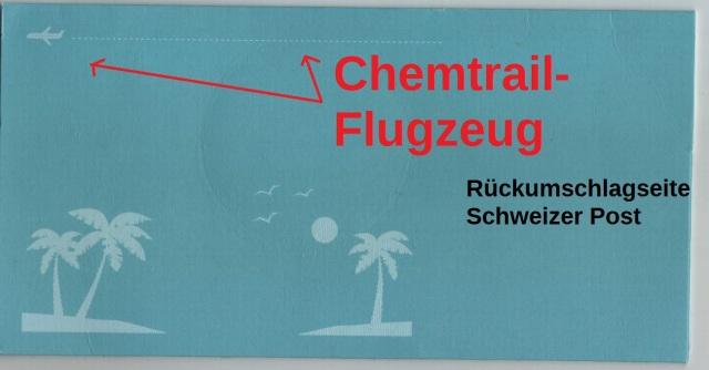 Chemtrail-Flugzeug CH-Post Umschlag