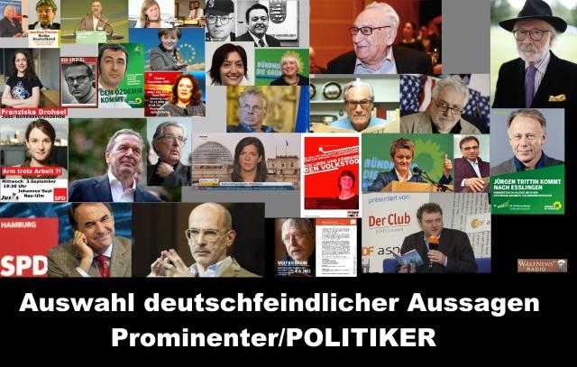 Auswahl deutschfeindlicher Aussagen Prominenter u. Politiker