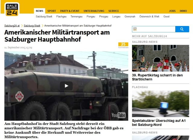 US-Militärkonvoi am Salzburger Hauptbahnhof