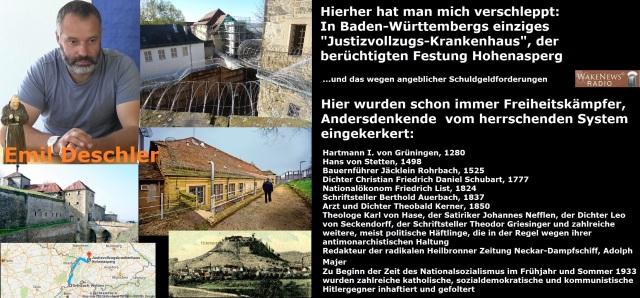Emil Deschler - man hat mich in den Kerker für politische Gefangene Festung Hohenasperg verschleppt