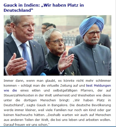 Gauck in Indien - wir haben Platz in Deutschland