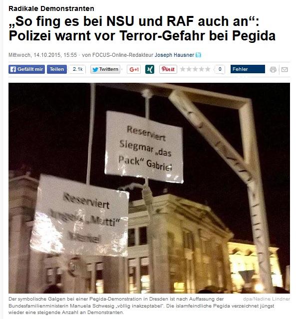 Pegida Halsstricke für Merkel und Gabriel
