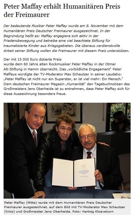 Peter Maffay erhält Freimaurer-Preis