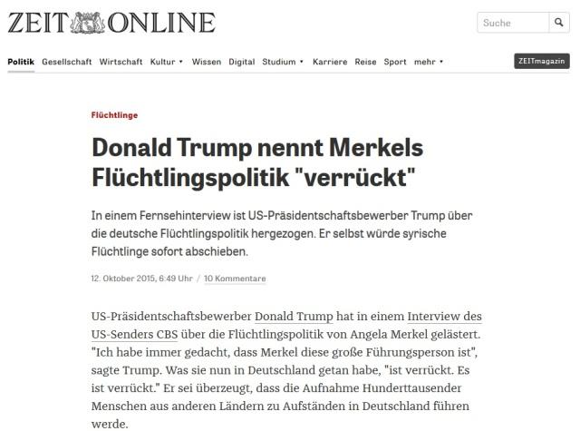 Trump Merkel verrückt