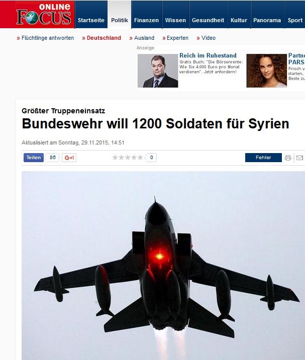 Bundeswehr will Militär + 1200 Soldaten nach Syrien schicken