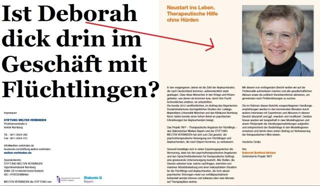 Deborah dick im Flüchtlingsgeschäft - Stiftung TAFF - Therapeutische Angebote für Flüchtlinge