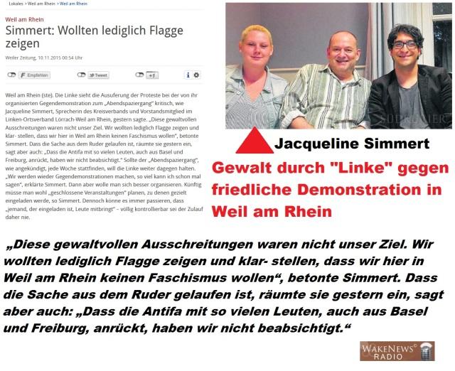 Gewalt durch Linke gegen friedliche Demonstration in Weil am Rhein