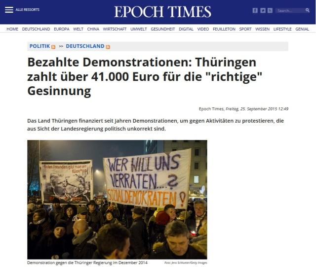 Bezahlte Demonstranten - Thüringen 41.000 Euro für richtige Gesinnung
