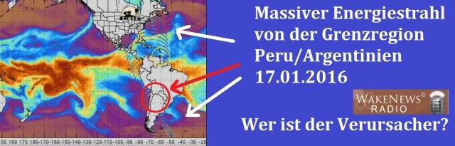 Massiver Energiestrahl Peru-Argentinien 20160117