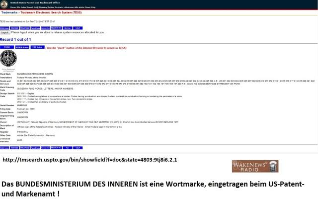BUNDESMINISTERIUM DES INNEREN ist eine Wortmarke US-Patent 89001261