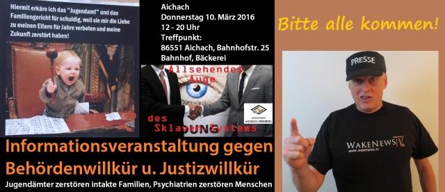Demo gegen Jugendamt und Justiz-Willkür 110.03.2016 in Aichach