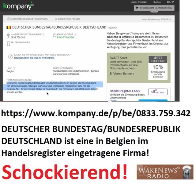 DEUTSCHER BUNDESTAG BUNDESREPUBLIK DEUTSCHLAND ist eine im belgischen Handelsregister eingetragene Firma - schockierend