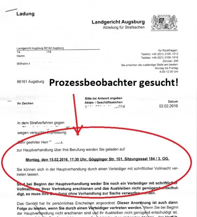 LG Augsburg 15.02.2016 Prozessbeobachter gesucht