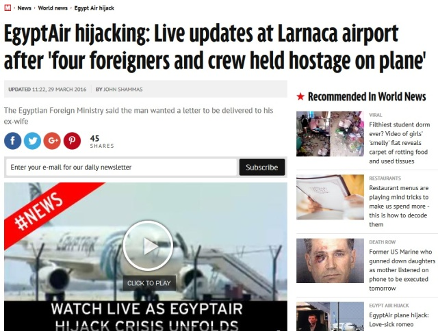 Egypt Air Hijack Terror