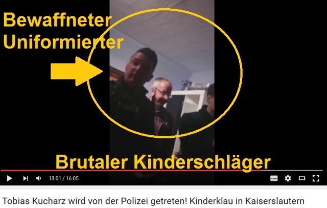 Brutaler Schläger -bewaffneter Uniformierter in Kaiserslautern