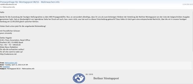Presseanfrage an Berliner Morgenpost 20160412