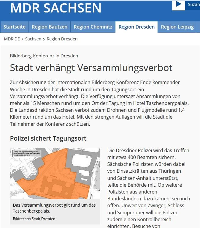 Stadt Dresden Bilderberger 2016 Versammlungsverbot