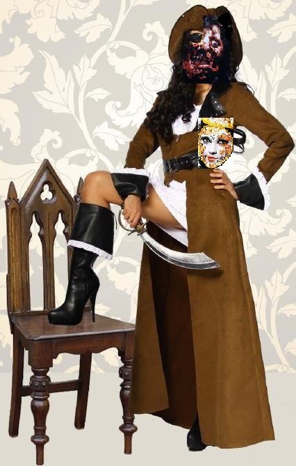 Lügen-Piratin mit Gruselgesicht